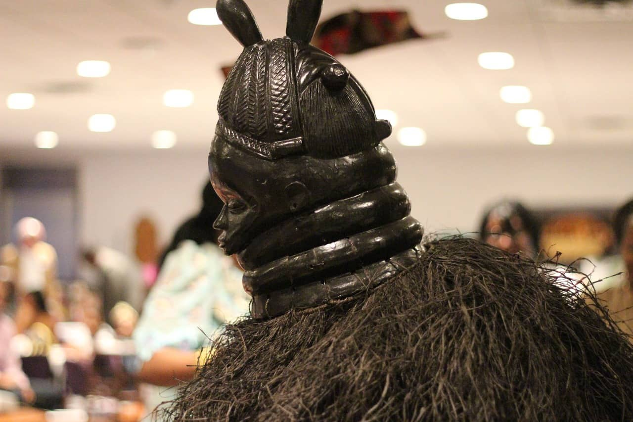 A close up of a person wearing a costume